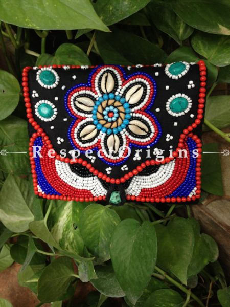 Buy Ladakhi Beaded Clutch; Red,Black,White and Blue with White shells ; Handmade Ethnic Clutch for Women and Girls at Respectorigins.com