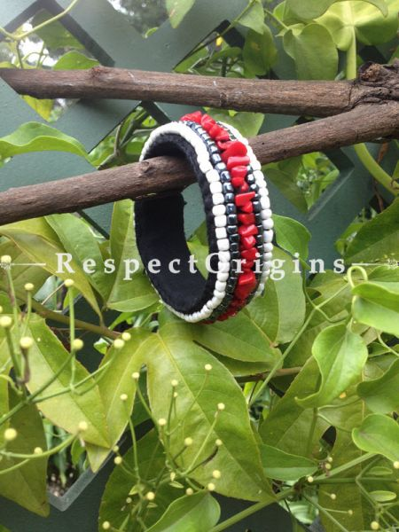 Buy Red & White Beads; Handemade Ladhaki Beaded Bracelet for Women and Girls At RespectOrigins.com