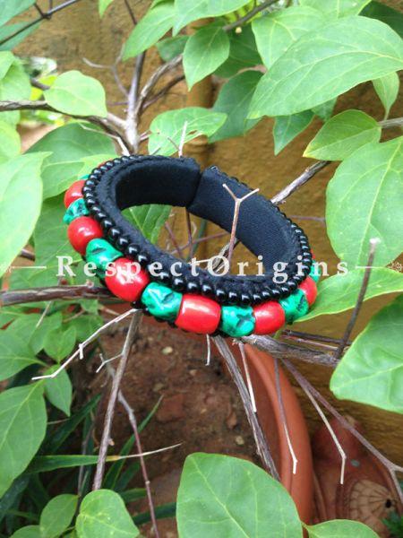 Buy Red & Green Beads; Ladhaki Beaded Bracelet At RespectOrigins.com