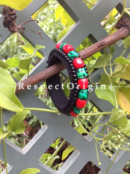 Buy Red & Green Beads; Ladhaki Beaded Bracelet At RespectOrigins.com