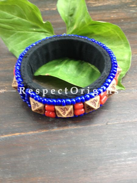 Buy Ladakhi Beaded Bangle ;Blue and Red;Handmade Bangles for Women at Respectorigins.com