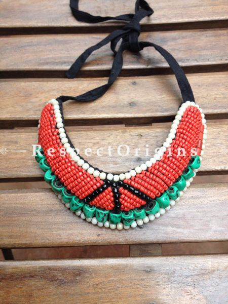 Buy Ladakhi Beaded Chocker;turquoise green,Red,Black and White ;Handmade Necklace for Women at Respectorigins.com