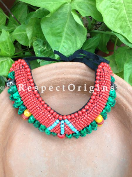 Buy Ladakhi Beaded Chocker;turquoise green,Red and Yellow ;Handmade Necklace for Women at Respectorigins.com