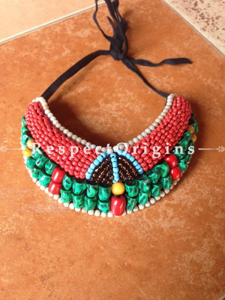 Buy Ladakhi Beaded Chocker;turquoise green,Red and Brown ;Handmade Necklace for Women at Respectorigins.com