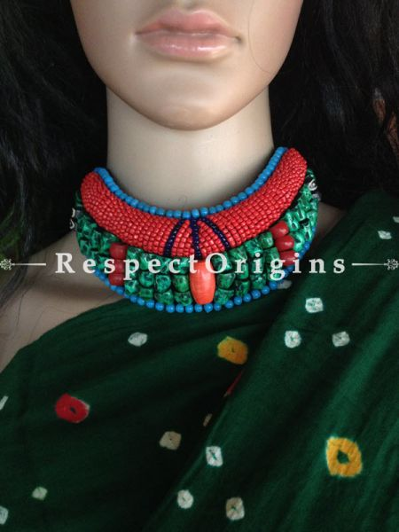 Buy Ladakhi Beaded Chocker;turquoise green,Red and Blue ;Handmade Necklace for Women at Respectorigins.com