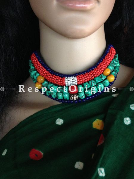 Buy Sky Blue & Red Beads; Ladhaki Necklace; Beaded Chocker At RespectOrigins.com
