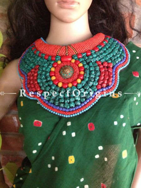 Buy SeaGreen,Blue & Red Beads; Ladhaki Necklace; Beaded Chocker At RespectOrigins.com