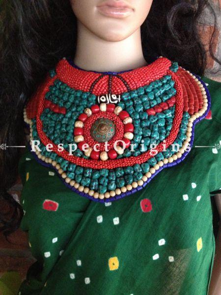Buy Blue & Red Beads; Ladhaki Necklace; Beaded Chocker At RespectOrigins.com