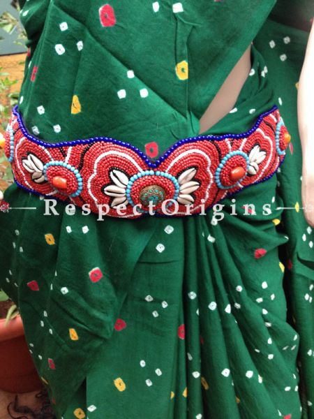 Traditional Ladakhi Vintage Pendant Beaded Belt; Red, Blue and Black Beads; RespectOrigins.com