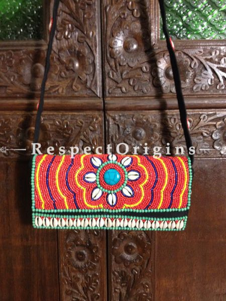 Buy Beaded Ladakhi Clutch;Red,Green,Yellow and Blue with white Shells ; Handmade Ethnic bag or Clutch for Women and Girls at Respectorigins.com