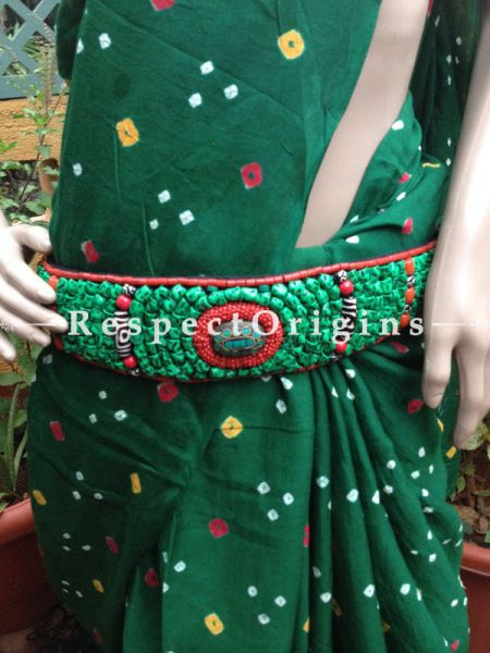 Traditional Ladakhi Vintage Pendant Beaded Belt; Green and Red Beads; RespectOrigins.com