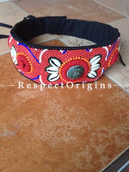 Traditional Ladakhi Vintage Pendant Beaded Belt; Red, Blue and White Beads; RespectOrigins.com