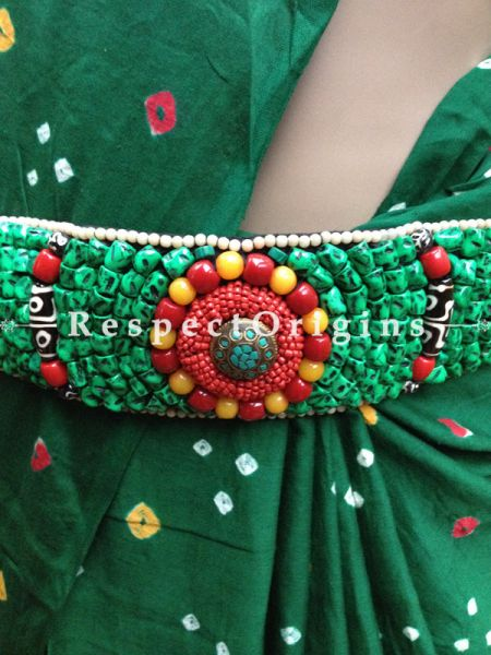 Traditional Ladakhi Vintage Pendant Beaded Belt; Green, Red and Yellow Beads; RespectOrigins.com