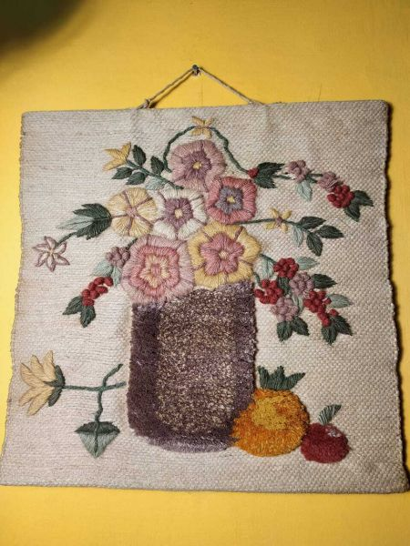 Jute Wall Hanging, Hand Embroidered; RespectOrigins.com