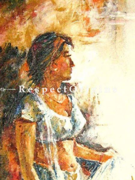 A Girl; Painting - 15In x 25In Border Framed; Acrylic Colors; Canvas