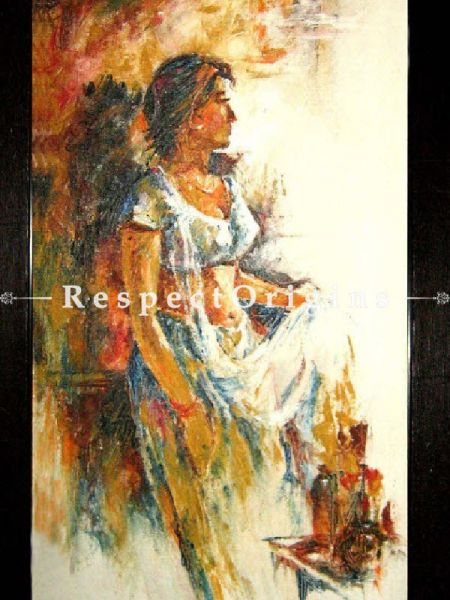 A Girl Painting - 15in x 25in (Border Framed); Acrylic Colors;Canvas  Buy A Girl Painting - 15in x 25in (Border Framed); Acrylic Colors;Canvas  Online RespectOrigins