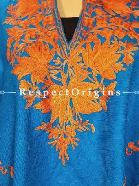 Aari Embroiderd Blue Poncho; RespectOrigins.com