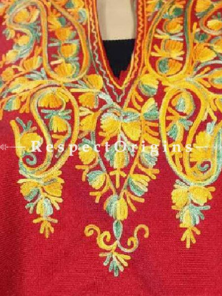 Aari Embroidered Red Poncho; RespectOrigins.com