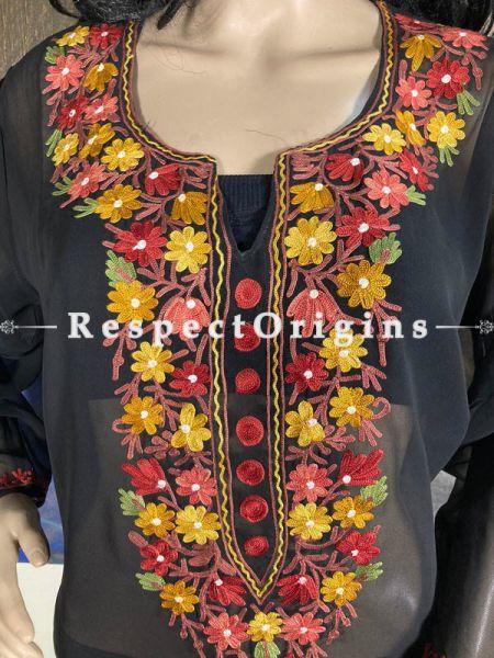Luxurious Soft Chiffon Black Kashmiri Kurta Top with Aari Work Embroidery; RespectOrigins.com