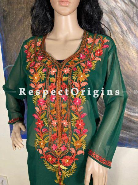Luxurious Soft Chiffon Emerald Green Kashmiri Kurta Top with Aari Work Embroidery; RespectOrigins.com