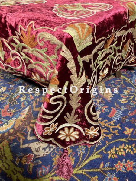 Fabulous Magenta Velvet Aari Work Embroidered Table Cover; 90 X 40 Inches ; RespectOrigins.com