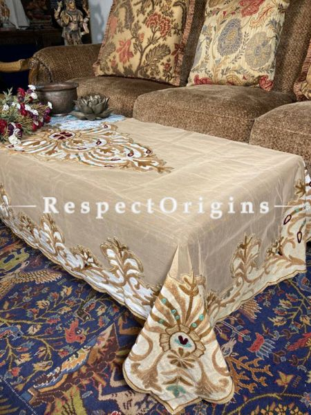 Magnificent Net Beige Color Aari Work Embroidered Table Cover; 90 X 40 Inches; RespectOrigins.com