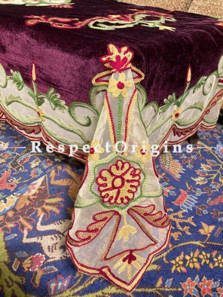 Magnificent Velvet Purple Aari Work Embroidered Center Table  Cover; 90 X 40 Inches.; RespectOrigins.com