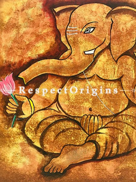 ExclusiveHandpainted Shree - Lord Ganesha Abstract Painting Acrylic on Canvas 36in X 34in at RespectOrigins.com