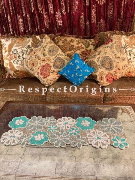 Decorative Pastel Blue n White Florals Beadwork Table Dresser Runner Mat Gift; RespectOrigins.com