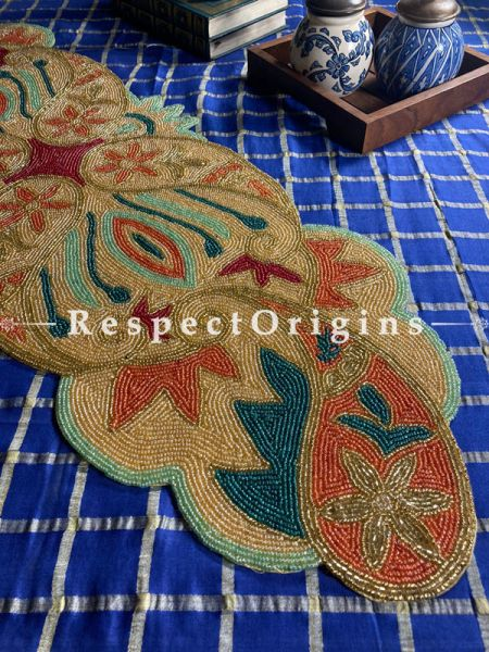 Classy Floral Beadwork on Satin Table Dresser Runner Mat Gift; RespectOrigins.com