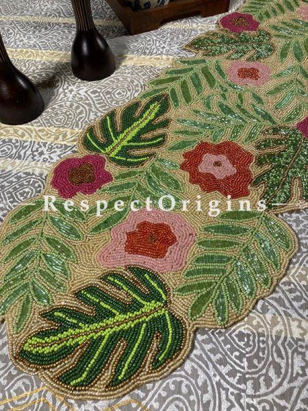 Santana Festive Floral Beadwork Table Dresser Runner Mat Gift; RespectOrigins.com
