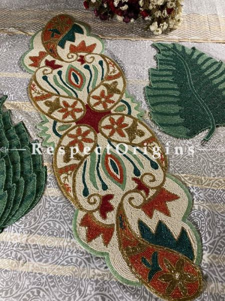 Luxury Beaded Cut-work Celebrations Table Runner with Leaf Mat Gift Set; RespectOrigins.com