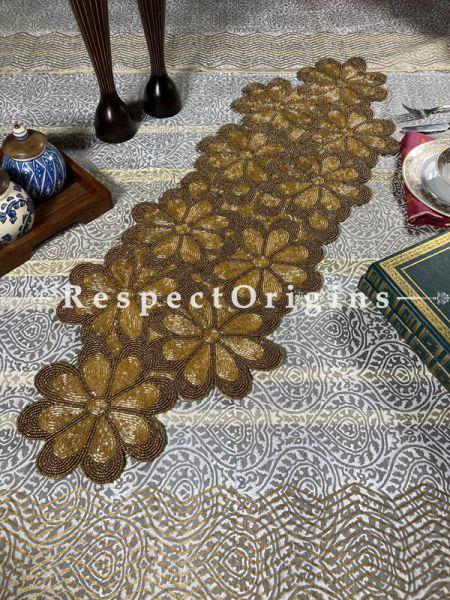 Gold on Gold!! Luscious Florals Beadwork Table Dresser Runner Mat Gift; RespectOrigins.com