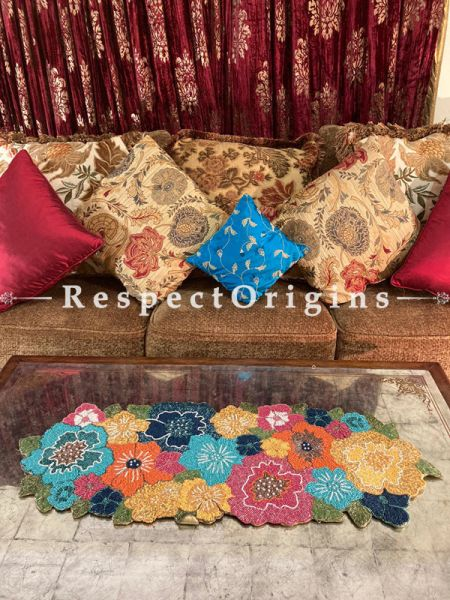 Gloriana Colourful Florals Beadwork Table Dresser Runner Mat Gift; RespectOrigins.com