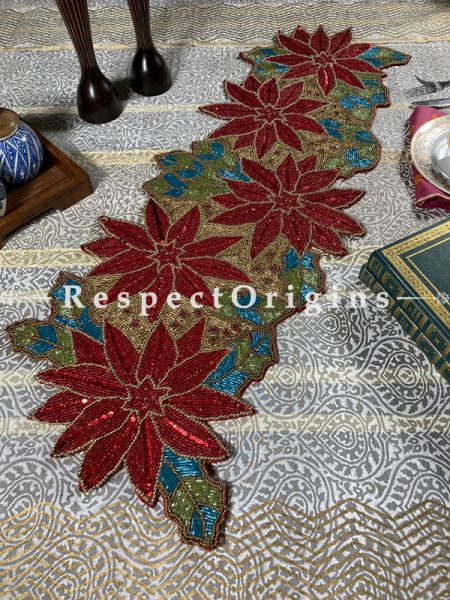 Christmas Floral Beadwork Table Dresser Runner Mat Gift; RespectOrigins.com