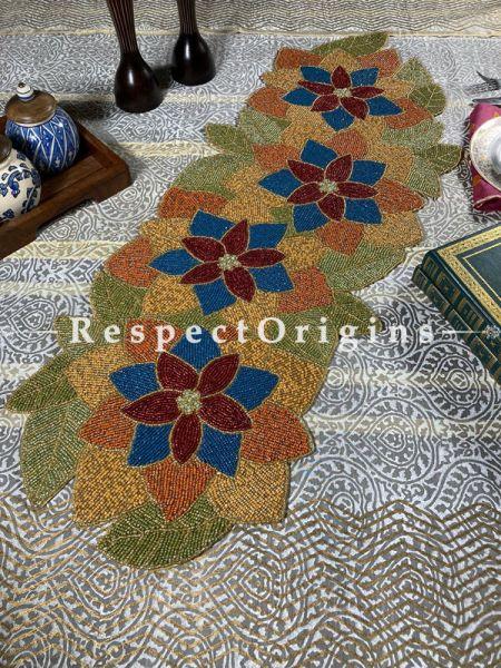Celebratory Floral Beadwork Table Dresser Runner Mat Gift; RespectOrigins.com