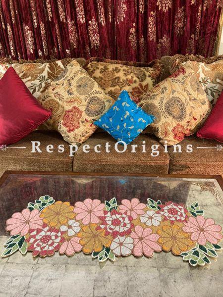 Joyful Pastel Florals Beadwork Table Dresser Runner Mat Gift; RespectOrigins.com