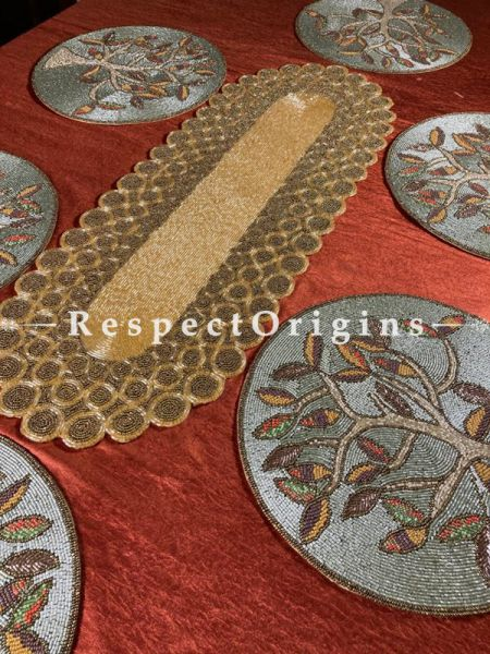 Gracie Beadwork Table Runner Leaf n 6 Mats Holiday Christmas Gift Set; RespectOrigins.com