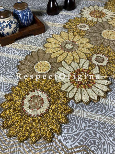 Gold, White and Bronzed Florals Beadwork Table Dresser Runner Mat; RespectOrigins.com