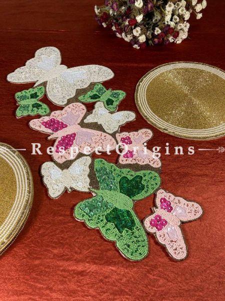 Meira Fabulous Beadwork Table Runner n 6 Mats Holiday Hanukah Christmas Gift Set; RespectOrigins.com