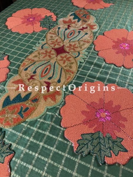 Fiona Beadwork Satin Silk Table Runner n 6 Mats Christmas Holiday Gift Set; RespectOrigins.com