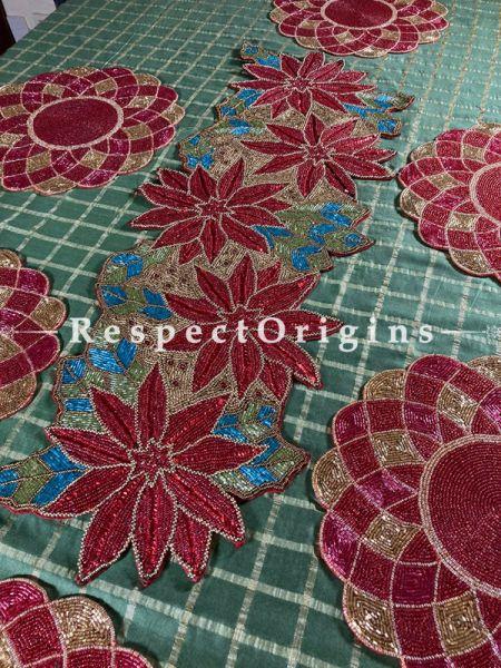 Santa's Red Beadwork Table Runner n 6 Mats Christmas Gift Set; RespectOrigins.com