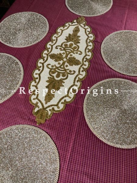 Athena Satin Silk Beadwork Table Runner n 6 Mats Gift Set; RespectOrigins.com