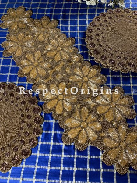 Gorgeous Gold Floral Beadwork Table Runner n 6 Mats Gift Set; RespectOrigins.com