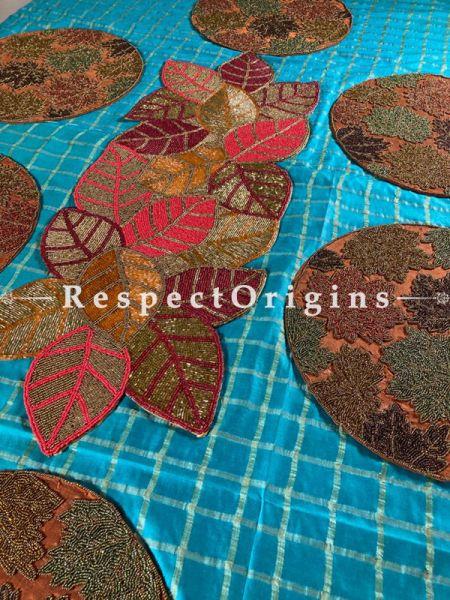Grand Beadwork Table Runner Leaf n 6 Mats Gift Set; RespectOrigins.com
