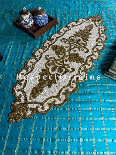 Shweta Celebrations Medallion Beadwork Table Dresser Runner Mat Gift; RespectOrigins.com