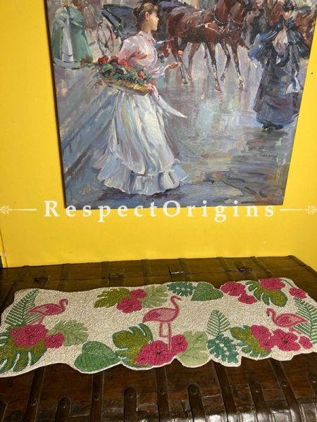 Rosy Pelican Beadwork Table Dresser Runner Mat Gift; RespectOrigins.com