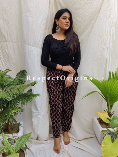 Brown Pure Cotton Ajarkh Printed Elasticated Waist Harem Pants or Palazzo with 2 pockets ; 38 Size; RespectOrigins.com