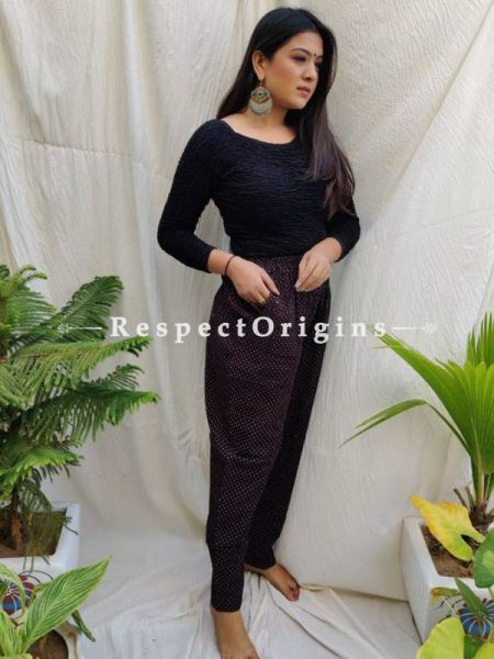 Purple Pure Cotton Ajarkh Printed Elasticated Waist Harem Pants or Palazzo with 2 pockets ; 38 Size; RespectOrigins.com
