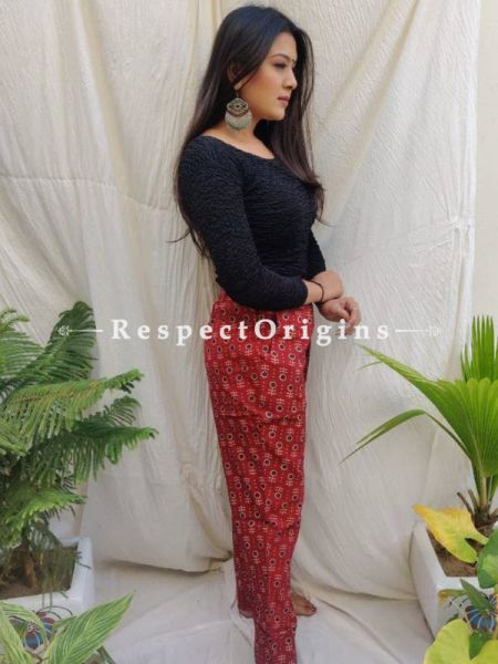 Red Pure Cotton Ajarkh Printed Elasticated Waist Harem Pants or Palazzo with 2 pockets ; 38 Size; RespectOrigins.com
